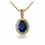 .925 Silver Gold Oval Blue Gem Pendant