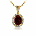 .925 Silver Gold Oval Red Lab Ruby Gem Pendant