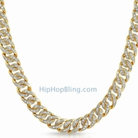 .925 Sterling Silver CZ Gold Cuban Chain 10MM