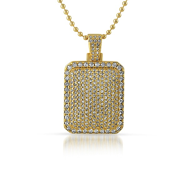 .925 Sterling Silver Gold CZ Bling Bling Dogtag