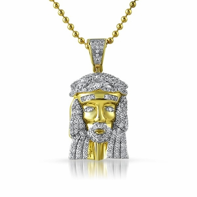 .925 Sterling Silver Gold Micro Jesus Pendant 2T