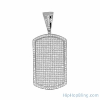 .925 Sterling Silver Micro Pave Dog Tag