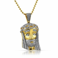 .925 Sterling Silver Mini Jesus Gold 2 Tone