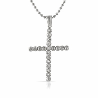 .925 Sterling Silver Moon Cut Cross 4MM