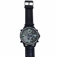 All Black Bling 5 Timezone Watch
