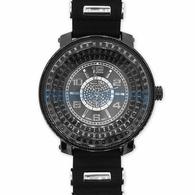 All Black Bling Bling Watch 3 Rows Under Glass