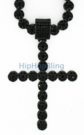 All Black Cluster Iced Out Chain & Cross Combo