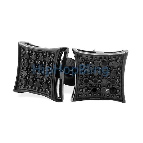 All Black Kite Silver CZ Micro Pave Bling Bling Earrings