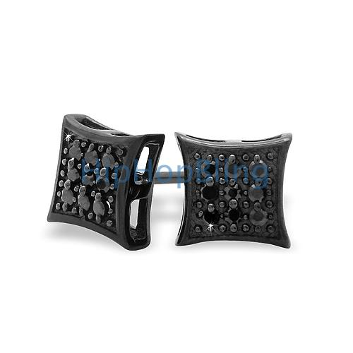 All Black Small Puffed Kite CZ Micro Pave Earrings Silver