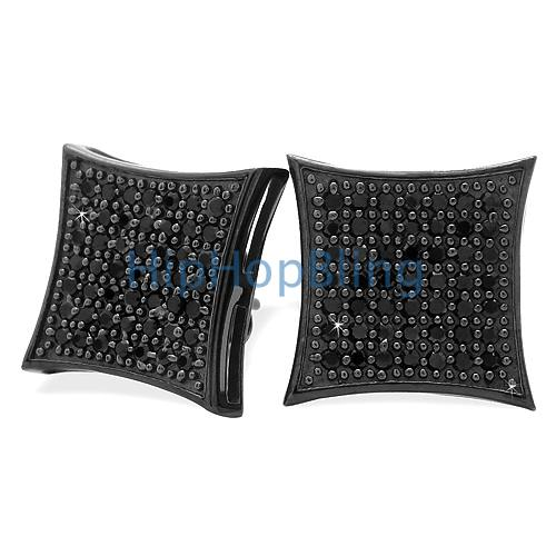 All Black XL Kite CZ .925 Silver Micro Pave Bling Bling Earrings