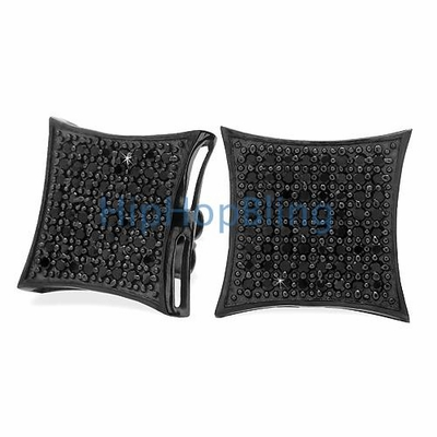 All Black XXL Kite .925 Silver CZ Micro Pave Bling Bling Earrings