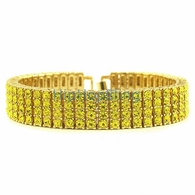 All Canary Iced Out 4 Row Gold Bracelet Bling Bling