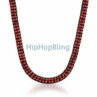 All Red on Black Bling Bling 2 Row Chain
