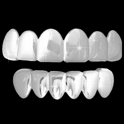 ALL SHINY Silver Grillz Hip Hop Grills TOP & BOTTOM TEETH COMBO