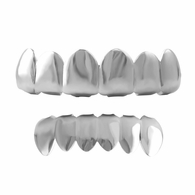 All Shiny Silver Grillz Top & Bottom Set