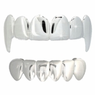 All Shiny Vampire Fang Grillz Top & Bottom Set