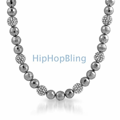 All Silver 15 Disco Ice Ball Bling Bling Necklace