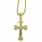 Arrow Cross Stainless Steel Gold Pendant Chain Set