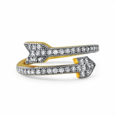 Arrow CZ Gold .925 Sterling Silver Ring Celeb Inspired