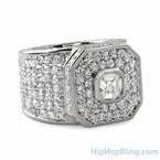 Asscher Cut Platinum Boss Hip Hop Ring