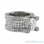 Baller Solitaire Eternity Rhodium Bling Iced Ring