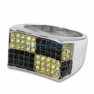 Ballers Canary & Black CZ Micro Pave Silver Iced Out Ring