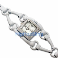 Bar Swivel Link White Rhinestone Fashion Ladies Watch