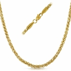 Basket Weave IP Gold Stainless Steel Chain Necklace  4MM