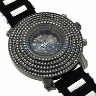 Black 6 Row Cone White Iced Out Watch
