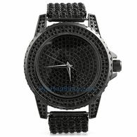 Black All Bling Bling Custom Watch Iced Out Band