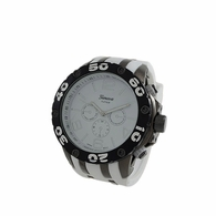 Black and White Rubber Sports Fashion Watch