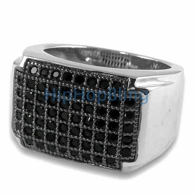 Black CZ Classic Hip Hop Micro Pave Mens Bling Bling Ring Silver
