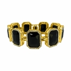 Black Gem Link Bling Bling Gold Bracelet