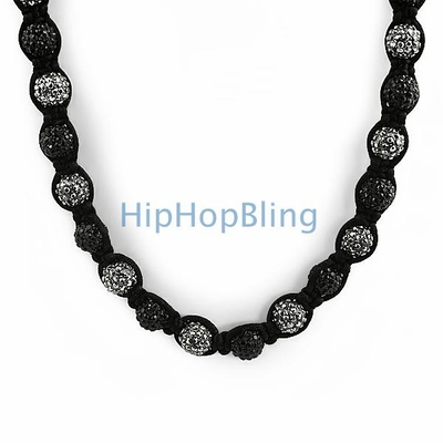 Black & Grey Bling Bling 50 Ball Disco Necklace