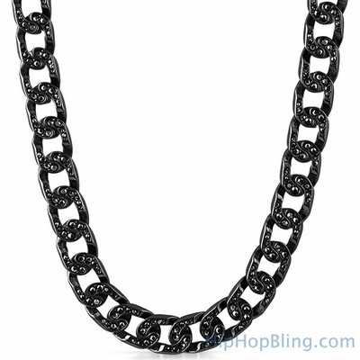 Black Hip Hop Iced Out Bling Cuban Chain