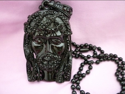 Black Jesus Piece Style Worn by Kanye West Jay Z Rare