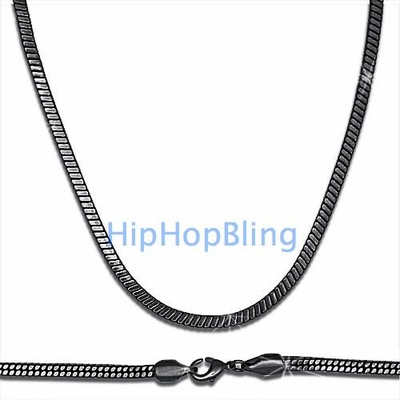 Black Square Snake 4mm Necklace 36 Inches