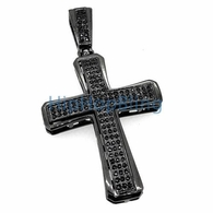 Black Triple Iced Out Cross