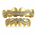 Bling Bling Gold Grillz Wavy Ice Set