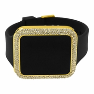 Bling Bling Gold Rectangle LED Touch Screen Watch Black Band