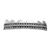 Bling Bling Grillz Double Row Silver Top
