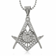 Bling Bling Masonic Pendant Stainless Steel