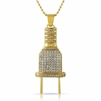 Bling Bling Plug Gold CZ Iced Out Pendant