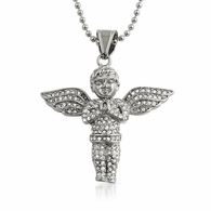 Bling Bling Praying Cherub Angel Pendant Stainless Steel