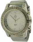 Bling Bling Silver Sports Mesh Watch Techno Pave