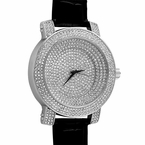 Bling Bling Stadium Iced Out Silver Black Leather Watch