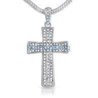 Bling Cross Small Iced Out Pendant & Chain