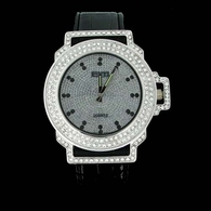 Bling Master 645 Iced Out Bezel Silver Black Leather Hip Hop Watch