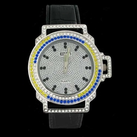 Bling Master 645 Iced Out Canary / Blue Bezel Silver Black Leather Hip Hop Watch