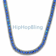 Blue Totally Iced Out 1 Row Chain